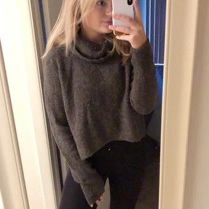 NWT Dark Grey Cowl Neck Knit Sweater